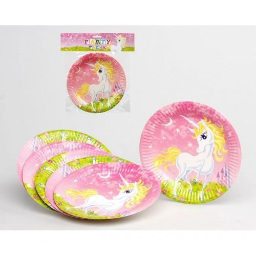 Pack 6 Platos Unicornio 23cms