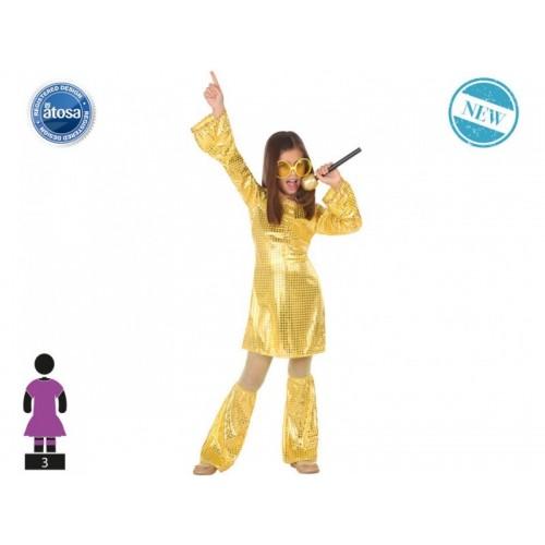Disfraz Disco Chica Dorado 10 a 12