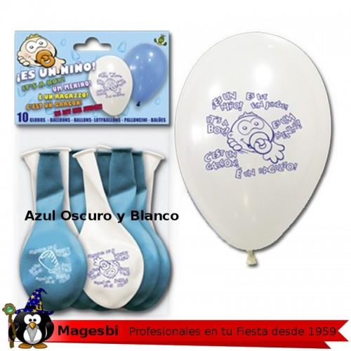 Globo Bebe Azul Blanco 12 unidades