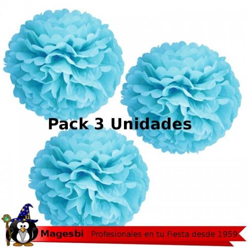 Pompon Azul 3 unidades