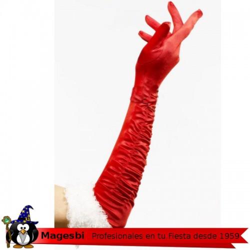 Guantes Largo Terciopelo Rojo Papa Noel