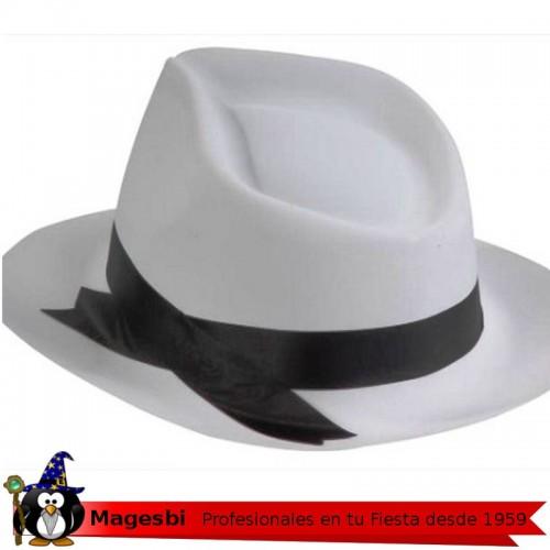 Sombrero Gangster Blanco Cinta Negra Plastico