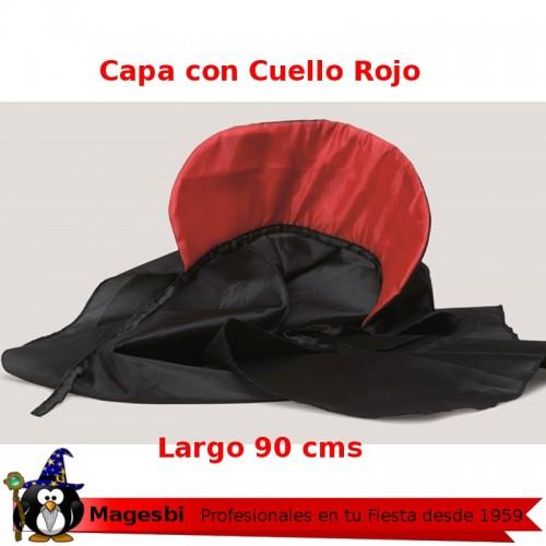Capa Negra Cuello Rojo Infantil