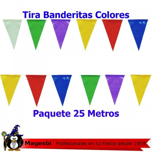 Banderas Triangulares Colores Surtidos 25m