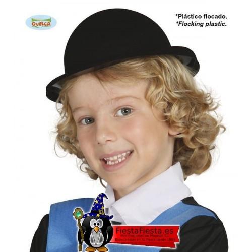 Sombrero Bombin Flocado Negro Infantil