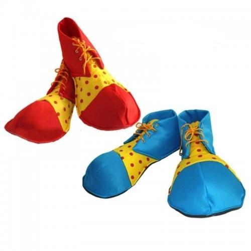 Zapato Payaso tela Azul Lunares