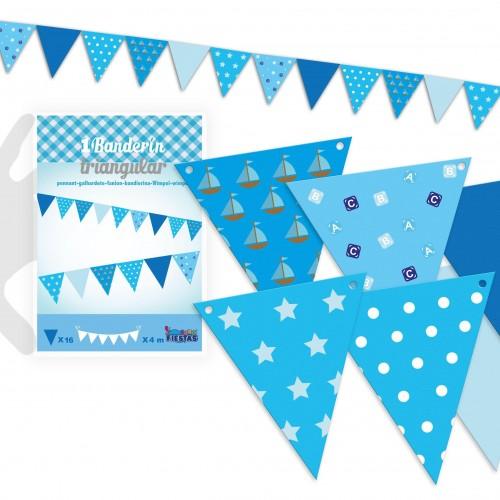 Banderines Azules Motivos Surtidos 4m