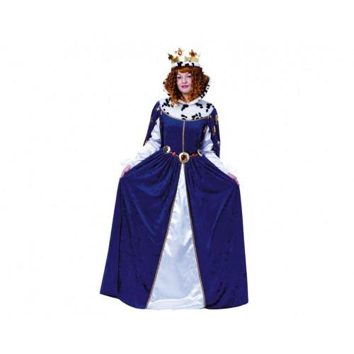 Disfraz Reina Medieval Azul Terciopelo