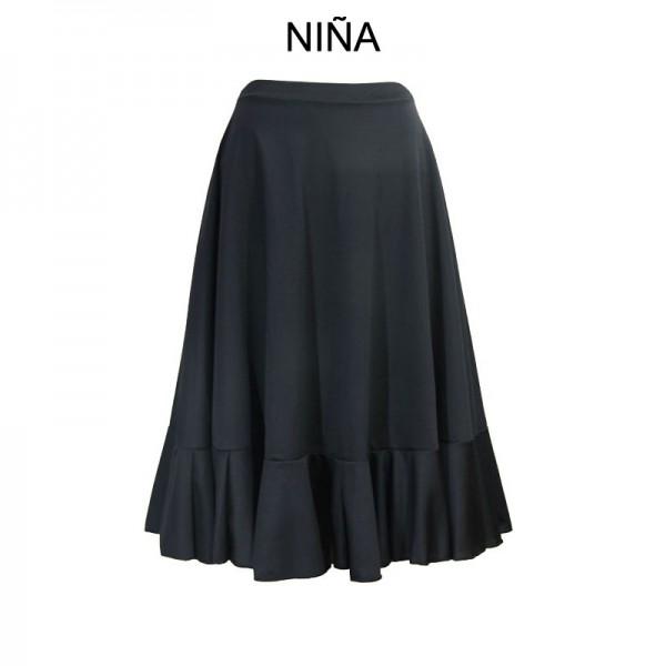 Falda Negra Volante Rojo
