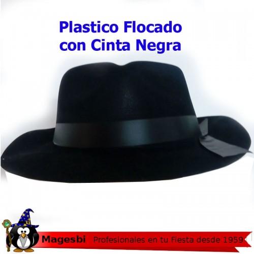 Sombrero Gangster Negro Plastico