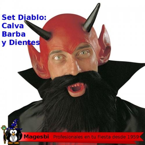 Set Diablo Barba Calva Cuernos Dentadura