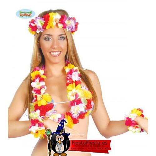 Conjunto Hawaiana Flores Tela